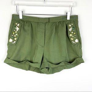 H&M Bejeweled Khaki green shorts